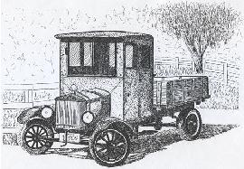 Antique Model T Truck, pen and ink drawing