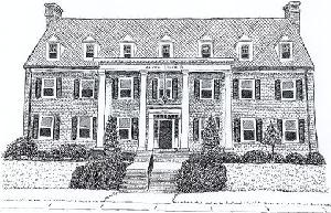 Sorority House, pen and ink drawing