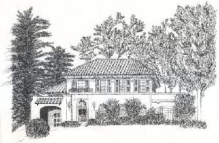 Syracuse house, pen and ink drawing